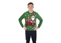 Pull moche de Noël adulte vert Père Noël motard