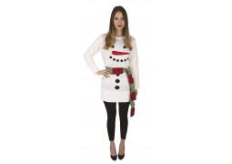 Robe moche de Noël adulte blanc bonhomme de neige