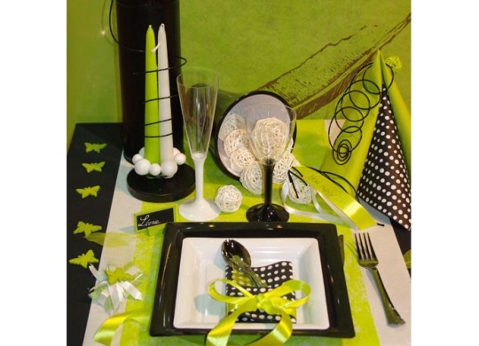chemin de table fibre vert lime d coration de table. Black Bedroom Furniture Sets. Home Design Ideas