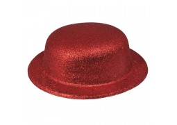 Chapeau melon paillettes rouge