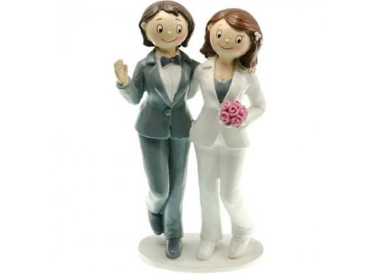 Figurine couple femmes en costume