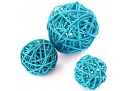 Boule rotin turquoise