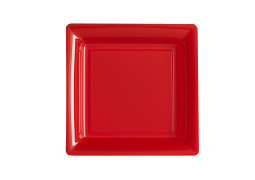 Assiette carrée petit modèle 16.50 cm rouge