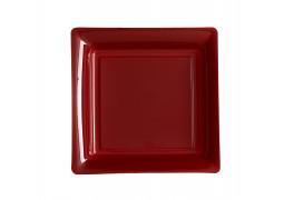 Assiette carrée moyen modèle 21.50 cm bordeaux