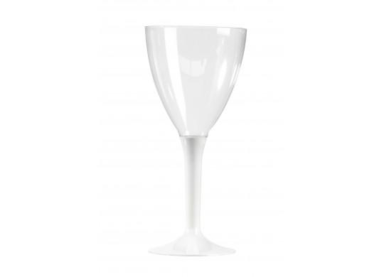 Verre à vin plastique pied couleur blanc