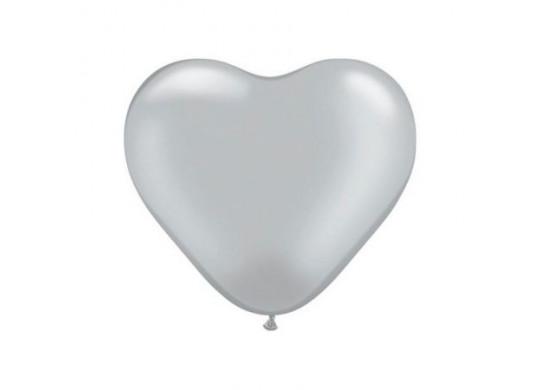 Ballon coeur argent