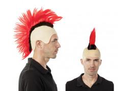 Perruque crête punk rouge