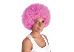 Perruque pop géante rose