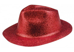 Chapeau borsalino paillettes rouge