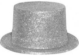 Chapeau haut de forme paillettes argent