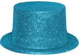 Chapeau haut de forme paillettes turquoise