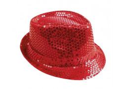 Chapeau borsalino sequin rouge
