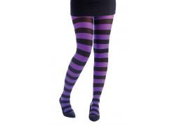 Collant rayé noir/violet