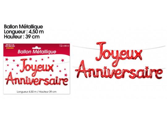 Ballon Métallique Joyeux Anniversaire Rouge Article De Fête